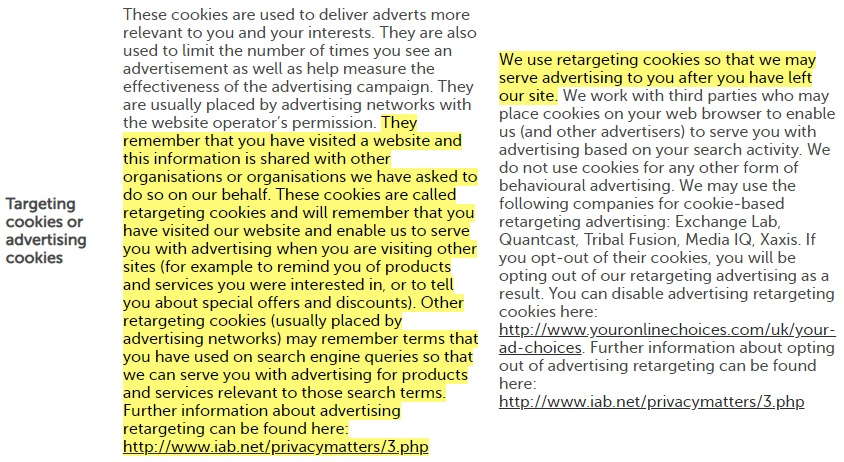 Direct Line Cookies Notice: Targeting cookies or advertising cookies clause highlighted