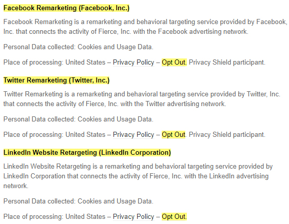 Fierce Cookie Policy: Remarketing and retargeting opt-out links highlighted