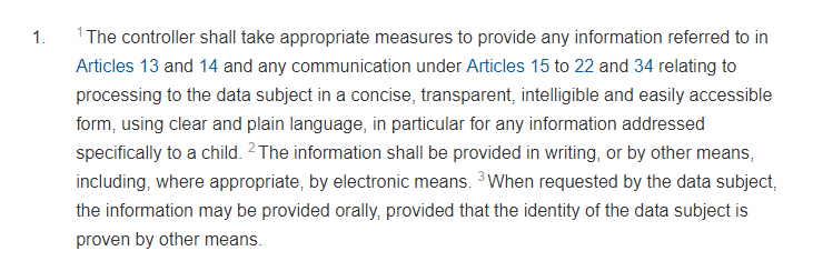 GDPR Info Article 12 Section 1: Privacy Policy requirement