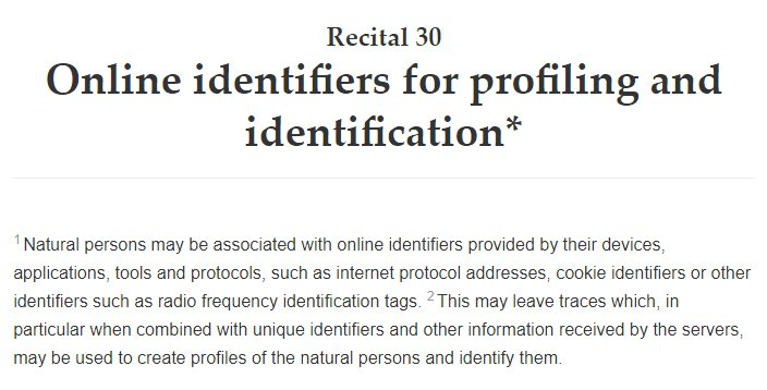 GDPR Info Recital 30: Online identifiers for profiling and identification