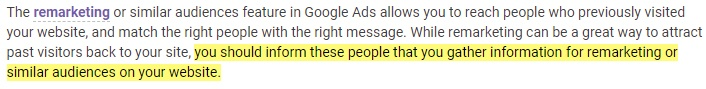 Google Ads Help: Excerpt of requirement to inform in your remarketing Privacy Policy