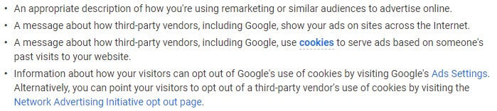 Google Ads Help: What to include in your remarketing Privacy Policy