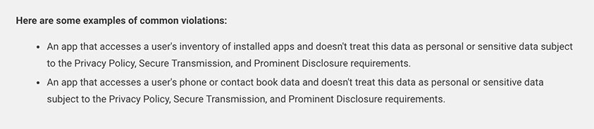 Google Play Privacy Security and Deception Policy: Examples of common violations section