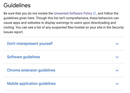 Google Play Privacy Security and Deception Policy: Guidelines clause