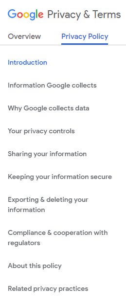 Contents menu of Google Privacy Policy