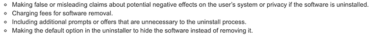Excerpt of Simple Removal clause of Google Unwanted Software Policy