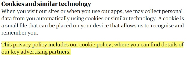 The Guardian Privacy Policy: Cookies and similar technology clause with cookie policy highlighted