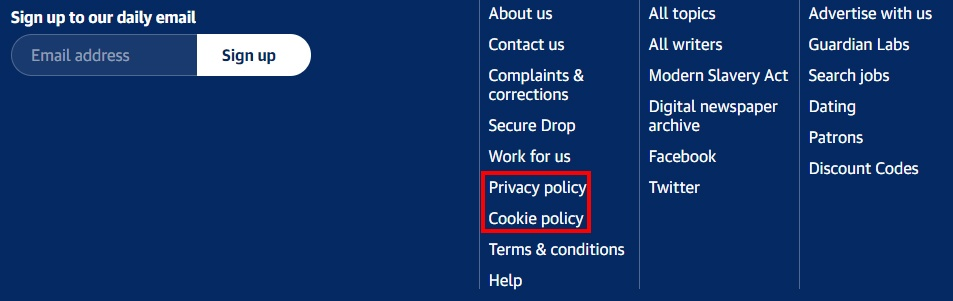 The Guardian website footer with Privacy and Cookie Policy links highlighted