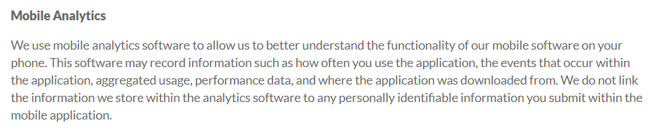LogMeIn Privacy Policy: Mobile Analytics clause excerpt