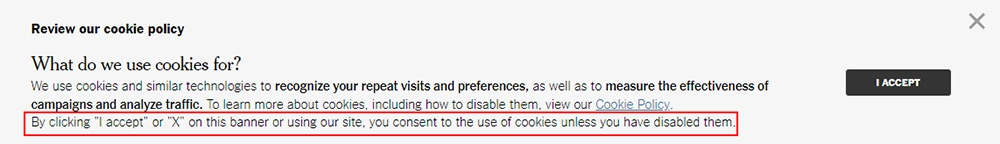 New York Times cookie consent banner highlighted