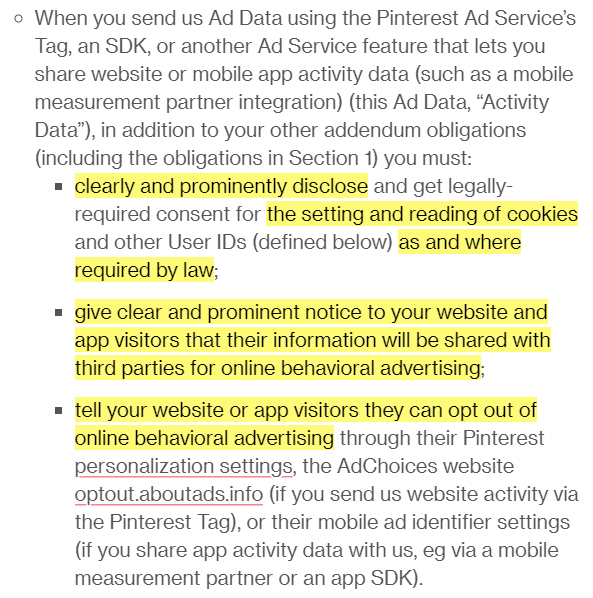 Pinterest Ad Data Terms: Pinterest Tag, App Activity and SDK clause highlighted