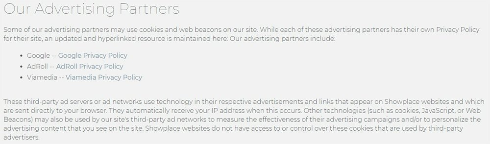 Showplace Privacy Policy: Advertising Partners clause