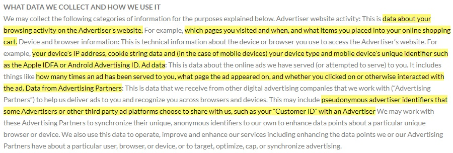 Source Knowledge Privacy Policy: What data we collect and how we use it clause highlighted