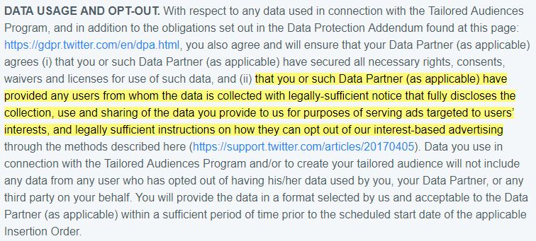Twitter Master Services Agreement: Data Use and Opt-Out clause with targeted ads section highlighted