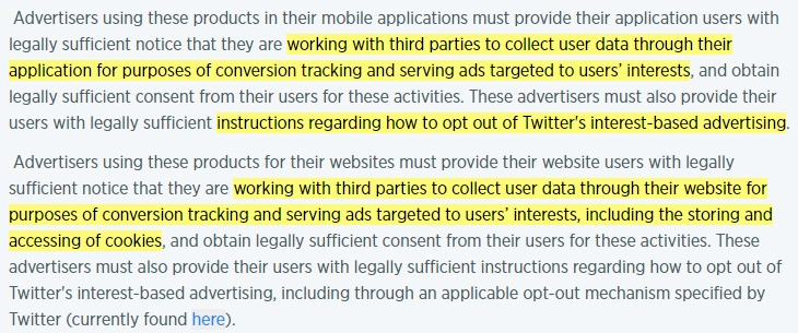 Twitter Policies for Conversion Tracking and Tailored Audiences: Requirements clause highlighted