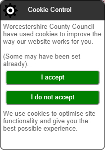 Worchestershire County Council cookie control and consent notice