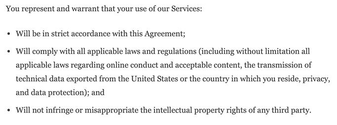 WordPress Terms of Service: General Representation and Warranty clause