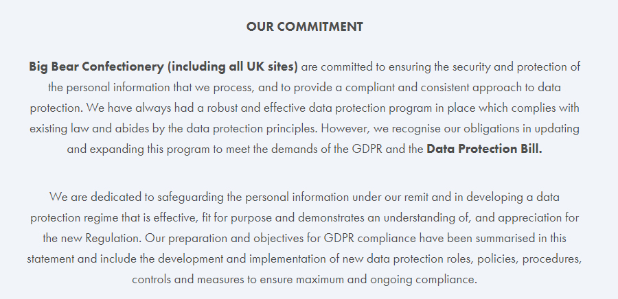 Big Bear Confectionery GDPR Compliance Statement - Commitment clause
