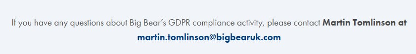 Big Bear Confectionery GDPR Compliance Statement - Contact information