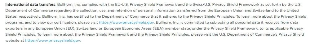 Bullhorn GDPR Compliance Statement - International Data Transfers clause