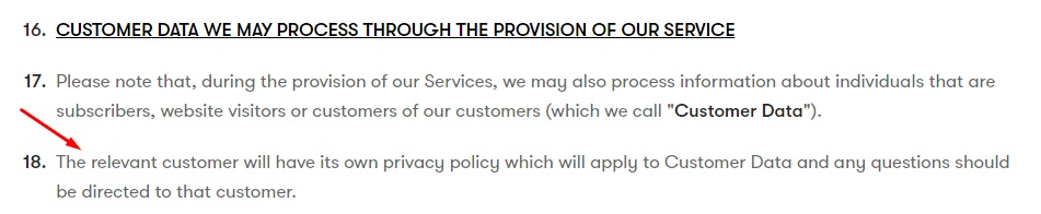 Drip Privacy Policy: Customer data processed through service clause