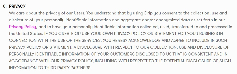 Drip Terms of Service: Privacy clause