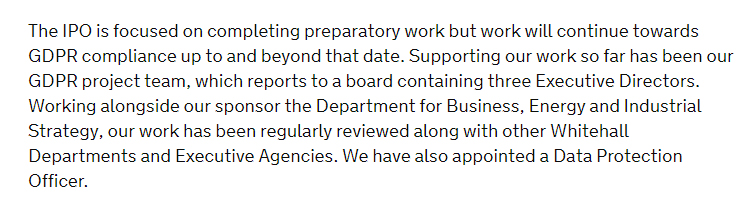 GOV UK GDPR Compliance Statement - Appointed a DPO section