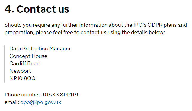 GOV UK GDPR Compliance Statement - Contact clause