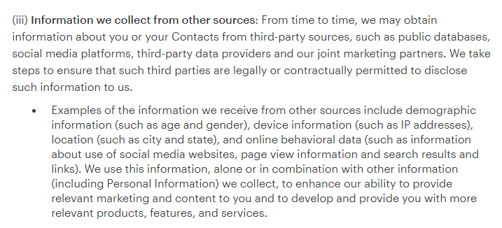 Mailchimp Privacy Policy for Members: Information we collect from other sources clause