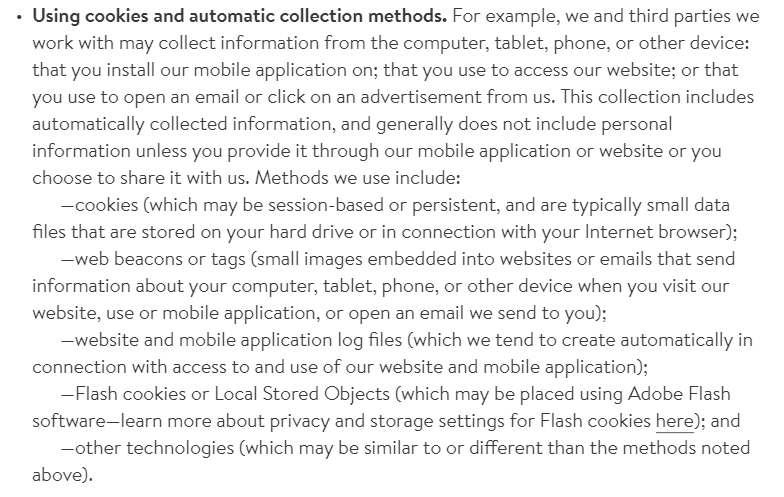 Nordstrom Privacy Policy: Using cookies and automatic collection methods clause
