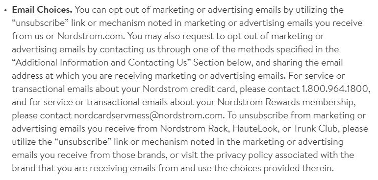 Nordstrom Privacy Policy: Email Choices clause
