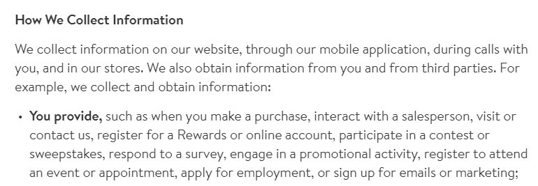 Nordstrom Privacy Policy: Excerpt of How We Collect Information clause