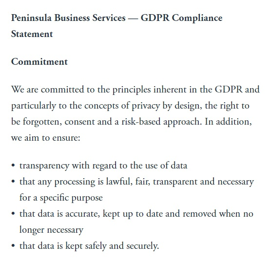 Peninsula GDPR Compliance Statement - Commitment clause