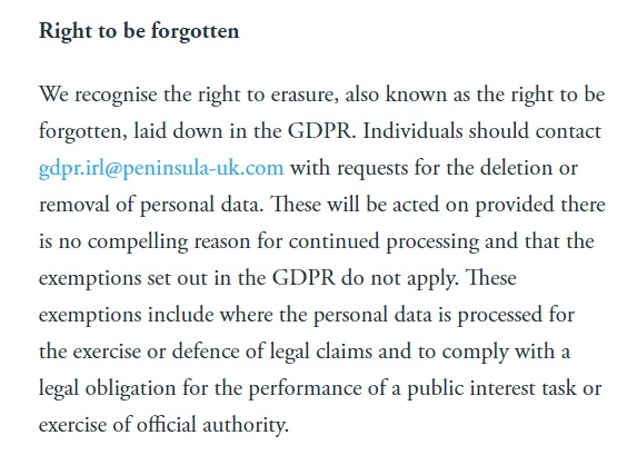 Peninsula GDPR Compliance Statement - Right to be forgotten clause