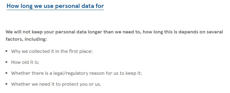 Tesco Privacy Policy: Data retention clause