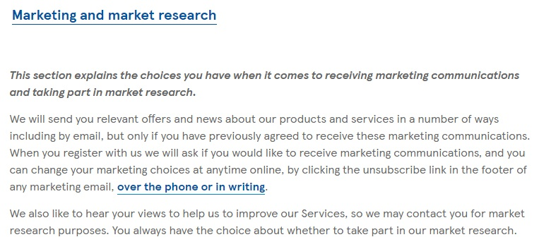 Tesco Privacy Policy: Marketing and market research clause