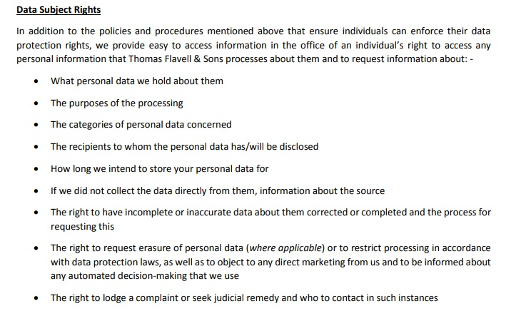 Thomas Flavell and Sons GDPR Compliance Statement - Data Subject Rights clause