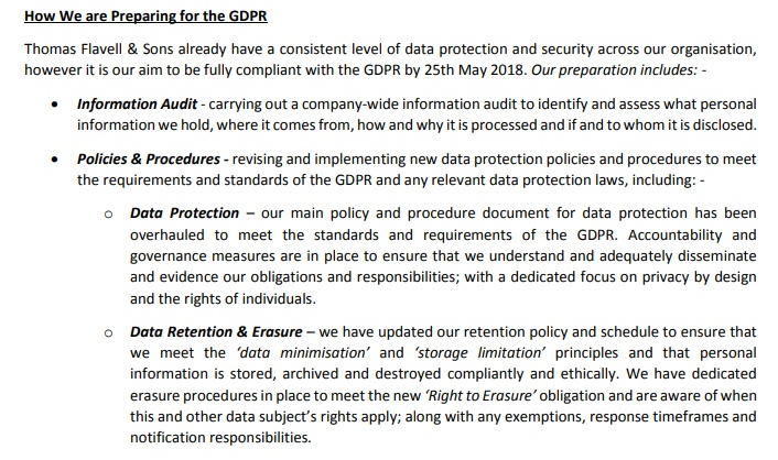 Thomas Flavell and Sons GDPR Compliance Statement - How we are preparing for the GDPR clause excerpt