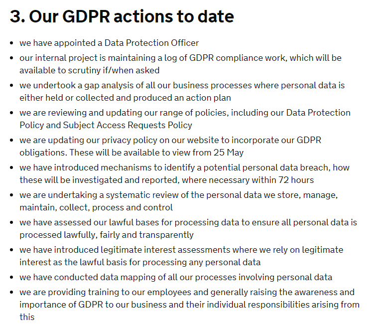 UK GOV GDPR Compliance Statement - GDPR actions to date clause excerpt