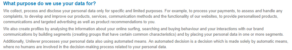 Unilever Privacy Notice: What purpose do we use your data for clause