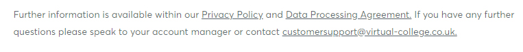 Virtual College GDPR Compliance Statement - Privacy Policy link in clause