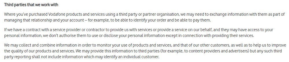 Vodafone Privacy Policy: Third parties clause