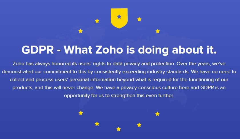 Zoho GDPR Compliance Statement - Introduction banner