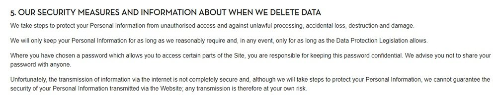 Caffe Nero Privacy Policy: Our Security Measures and Information About When We Delete Data clause