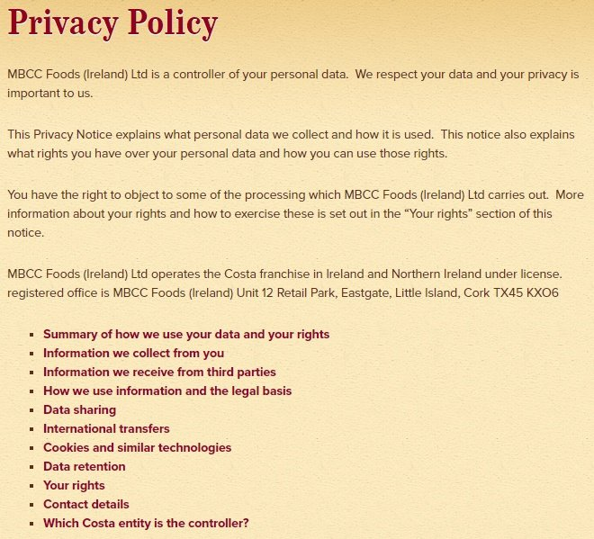 Screenshot of Costa Coffee Privacy Policy intro section