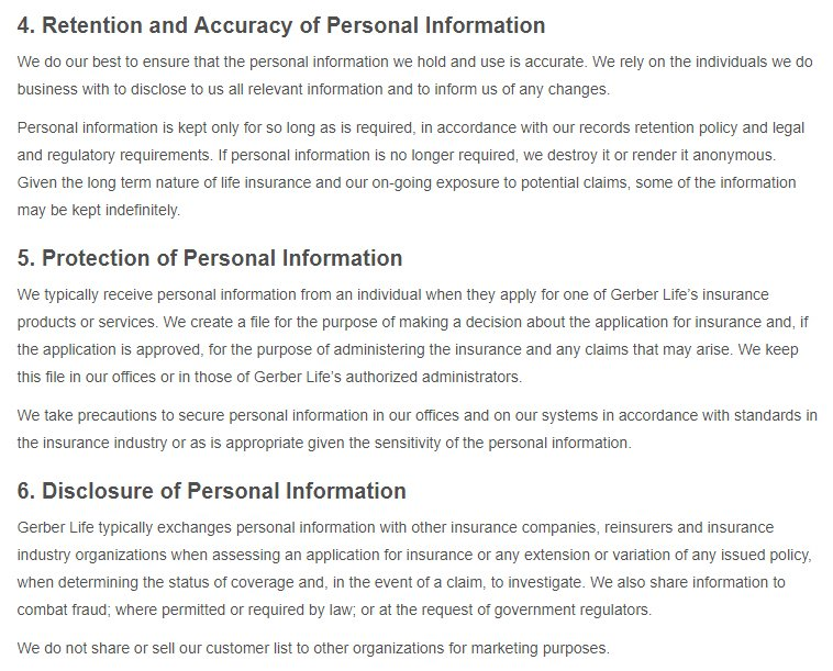 Gerber Life: PIPEDA-Canada Privacy Policy excerpt