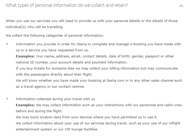 Iberia Airlines Personal Data Protection Policy: Excerpt of What types of personal information do we collect and retain clause