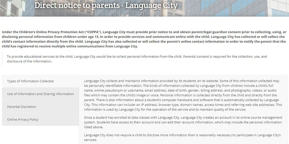 Language City: Screenshot of direct notice to parents - COPPA
