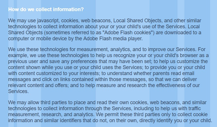 PBS Kids Privacy Policy: How do we collect information clause excerpt