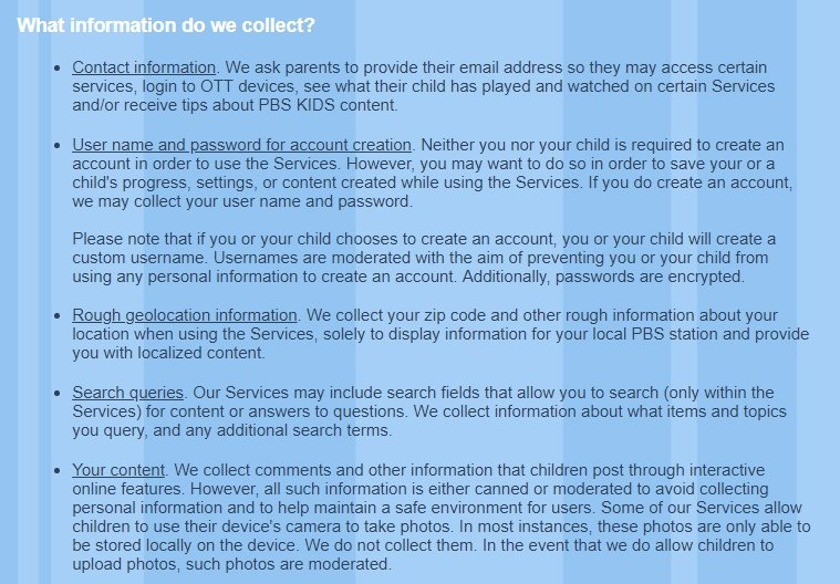 PBS Kids Privacy Policy: What information do we collect clause excerpt